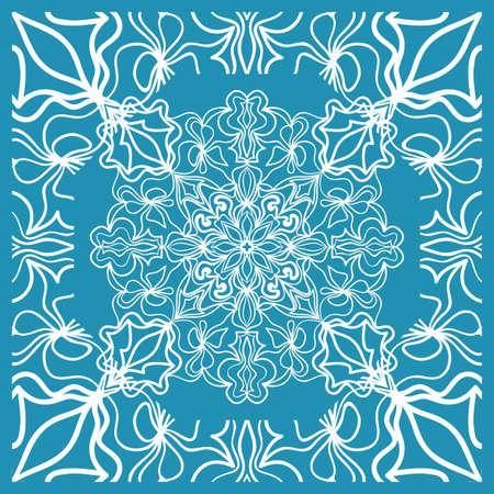 Floral Paisley Medallion Ornamental Rug. Ethnic Mandala Frame. Vector illustration. Blue color Vectores