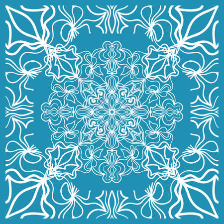 Floral Paisley Medallion Ornamental Rug. Ethnic Mandala Frame. Vector illustration. Blue color Vettoriali