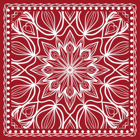 Mandala graphic background, square pattern with floral geometric ornament. vector illustration.