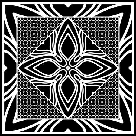 Square composition in geometric Lace Pattern. Floral Mandala Background Illustration