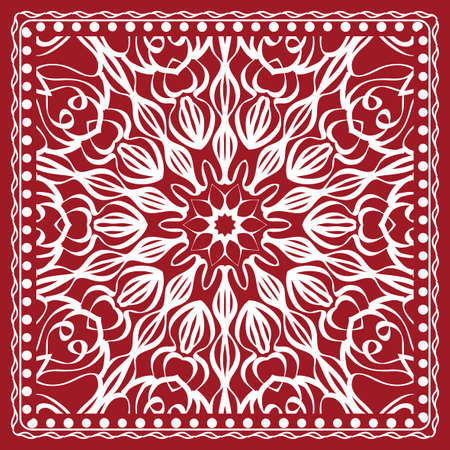 Mandala graphic background, square pattern with floral geometric ornament. vector illustration. for Bandanna fabric print, neck scarf or rug. red color