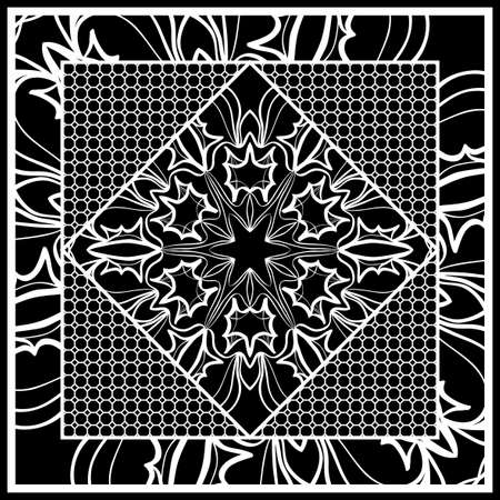 Square composition in geometric Lace Pattern. Floral Mandala Background for Scarf Print, Fabric, Covers, Scrapbooking, Bandana, Pareo, Shawl, Carpet design. Vector Illustration
