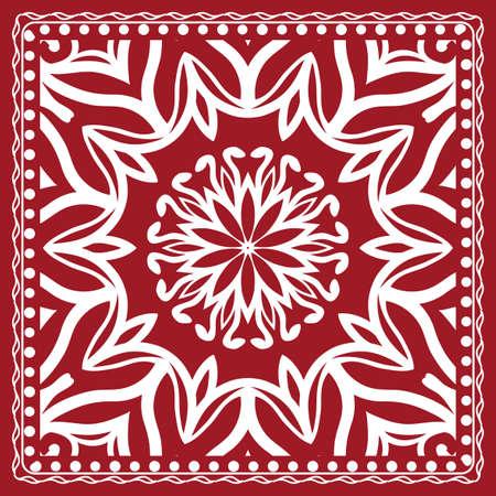 Floral paisley medallion ornamental rug. Ethnic mandala frame in red color.