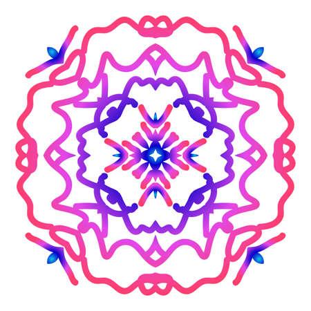 Mandala creative anti-stress ornament. Vector illustration in blue and purple color.
