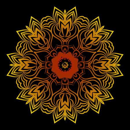 background with gold mandala on black background. vector illustration Illustration