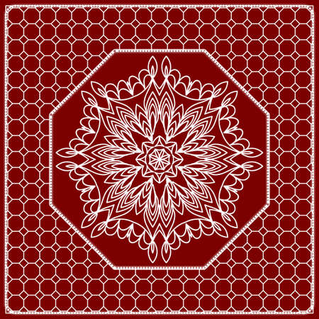 Red mandala background, geometric pattern with ornate lace frame. Vector illustration.