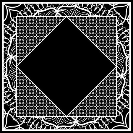Frame with floral lace ornament for fabric design. vector illustration. black, white color