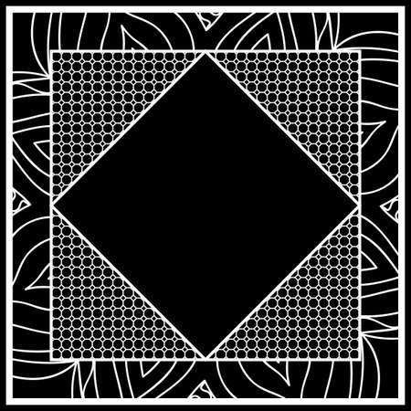 art deco frame with floral border, hexagon grid. vector illustration. black, white color Vettoriali