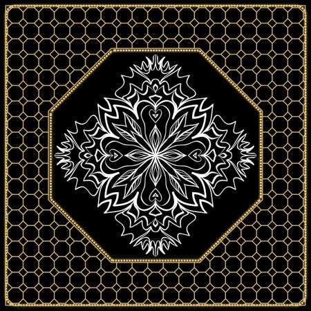 vector illustration. pattern with floral mandala, decorative border. design for print fabric, bandana. black, gold color