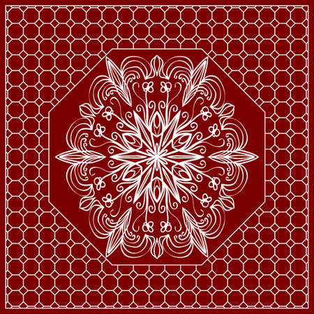 Red mandala background, geometric pattern with ornate lace frame. Vector illustration. for Scarf Print, Fabric, Covers, Scrapbooking, Bandana, Pareo, Shawl, Carpet design. Illustration