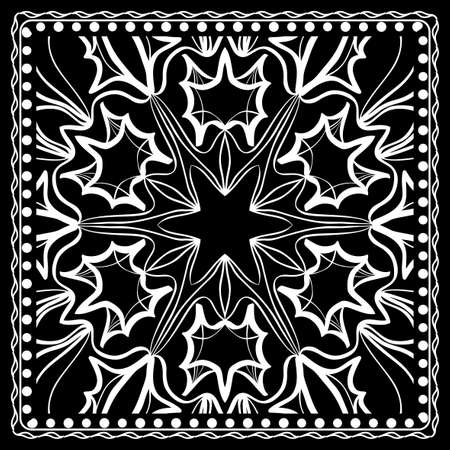 Black and white Paisley Bandana Print with Floral Pattern. Square pattern design for silk neck scarf.