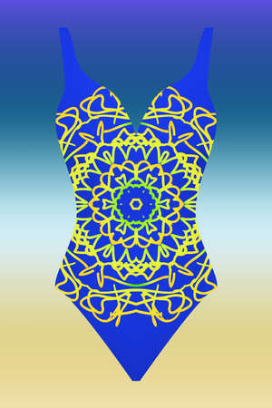 swimsuit with modern design mandala ornament. fashion vector illustration