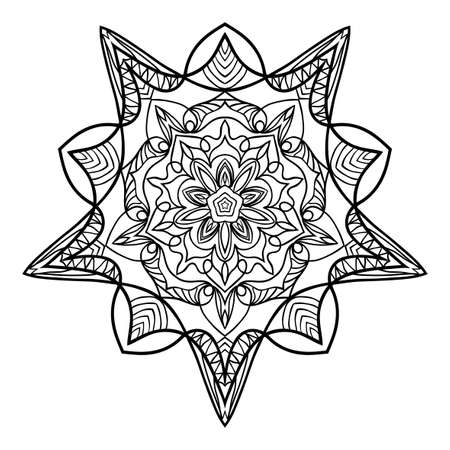 floral mandala. creative anti-stress ornament. vector illustration black color. Ilustração