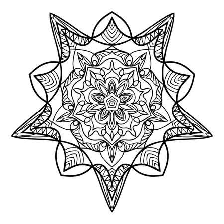 floral mandala. creative anti-stress ornament. vector illustration black color. Illustration