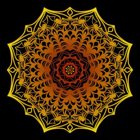 background with gold mandala on black background. vector illustration 向量圖像