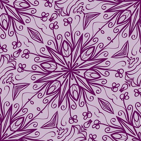 lace floral seamless pattern. decorative beautiful ornament with hand drawn elements. vector illustration. purple color