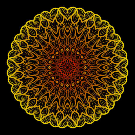 background with gold mandala on black background. vector illustration Illustration