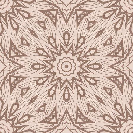 Floral Geometric Line seamless Pattern. Illustration. beige Color. For fabric print, textile, background Ilustrace