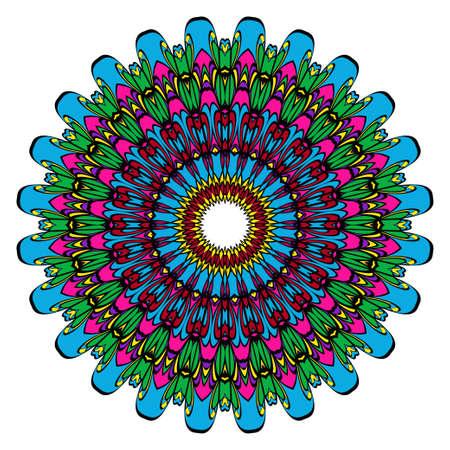 Mandala spiritual symbol. Decorative round ornament. Anti-stress therapy pattern. Hand drawn vector frame design.
