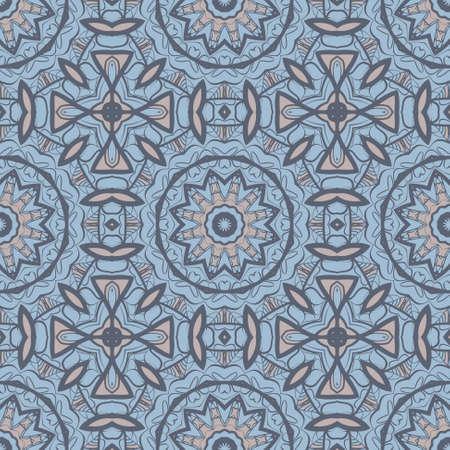 Flor de fondo sin fisuras Mandala en colores turquesas. Elementos decorativos vintage. Patrón oriental. Ilustración vectorial