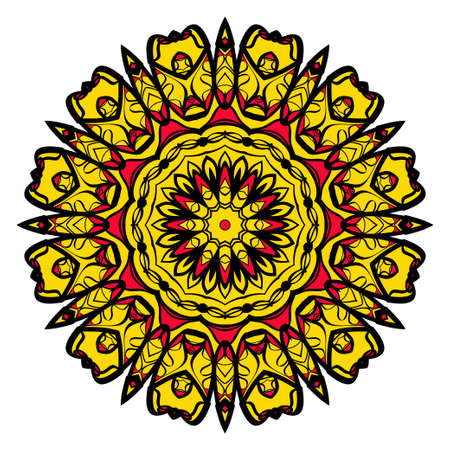 yellow, red, black color flower mandala round ornament design for greeting card, invitation, tattoo. Vector illustration Ilustracja