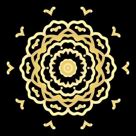 gold color floral mandala on black backgroound. vector illustration