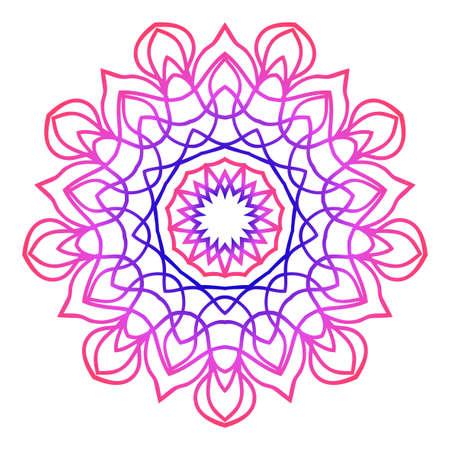 mandala creative anti-stress ornament. vector illustration blue, purple color.