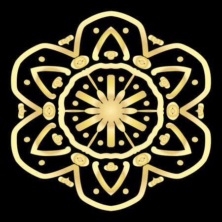 gold color floral mandala on black backgroound. vector illustration