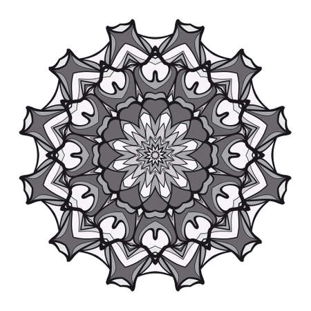 decorative flower mandala. abstract vector illustration. monochrome color.