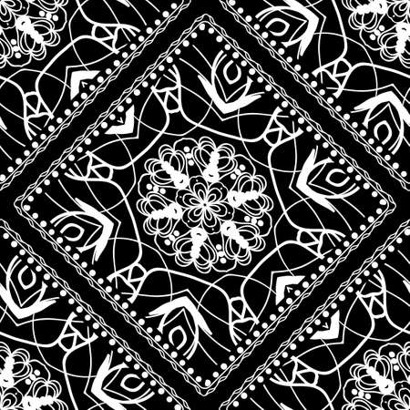 Close-up lace seamless pattern. Black and white. Vector. For scrapbooking, wallpaper, cases for smartphones, print, surface texture, pillows, bags. Ilustração