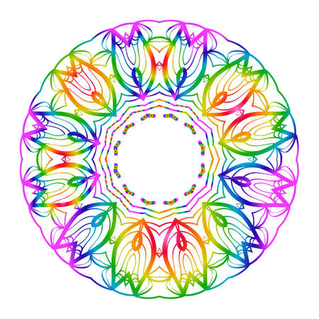 Rainbow color Hand-Drawn Henna Ethnic Mandala. Circle lace ornament. Vector illustration. for coloring book, greeting card, invitation, tattoo. Anti-stress therapy pattern. Ilustração