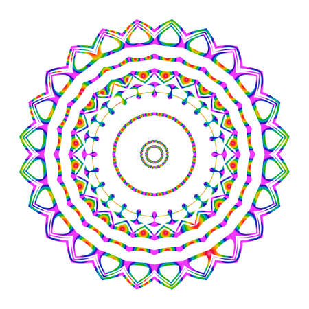 Beautiful Vector Mandala. Rainbow color on white. Vector illustration. Patterned Design Element. 矢量图像