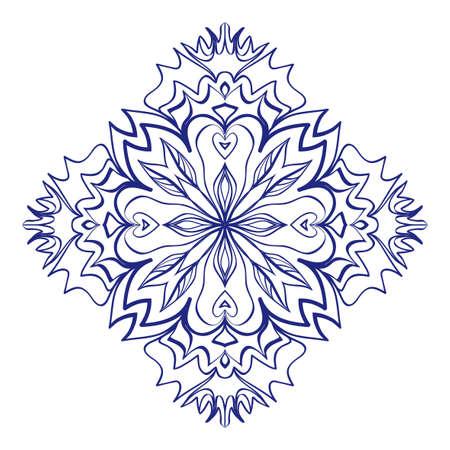 Floral Mandala for tattoo design, greeting card, invitation, coloring book. Arabic, Indian, motifs. Vector illustration. Illustration