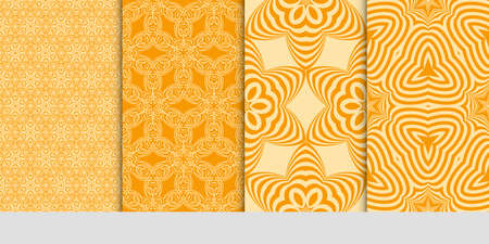 set of art seamless pattern with geometric floral ornament. orange color.