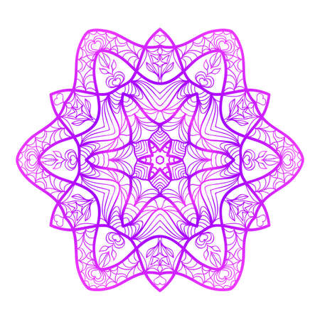 Floral Mandala. Vector illustration. Ethnic Circle Ornament. Purple color. for coloring book, greeting card, invitation, tattoo. Anti-stress therapy pattern.