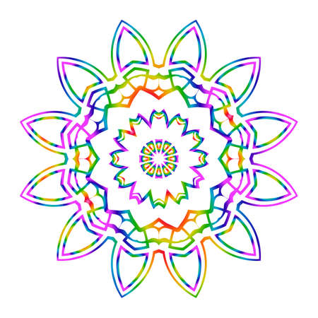 Rainbow color Hand-Drawn Henna Ethnic Mandala. Circle lace ornament. Vector illustration. for coloring book, greeting card, invitation, tattoo. Anti-stress therapy pattern. Vettoriali