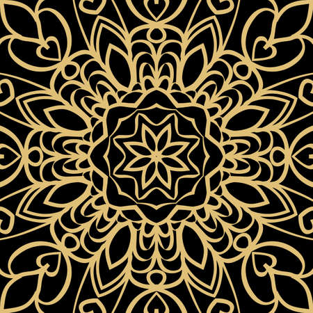 geometric floral seamless background. Tribal ethnic ornate decoration. Vector graphic illustration. gold, black color
