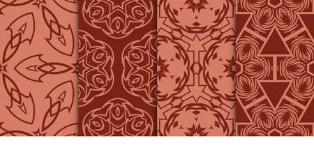 set of Decorative fashion background, geometric floral seamless pattern. creative ornament. brown color. for design fabric print, textile, wallpaper Çizim