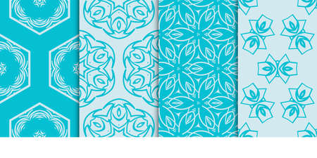 set of 4 geometric seamless pattern. vector illustration. for fabric print, wallpaper. blue color