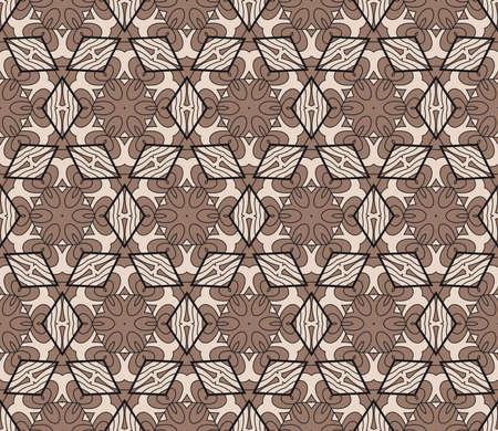 Geometric Seamless Pattern of different floral shapes. vector illustration. vector illustration. beige color. print for fabric, wallpaper Banque d'images - 97574835