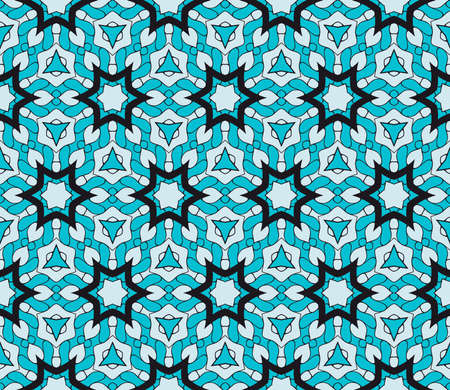 Ornamental fashion design. Modern seamless geometry floral pattern. Vector illustration. For interior design, printing, web and textile design. blue color