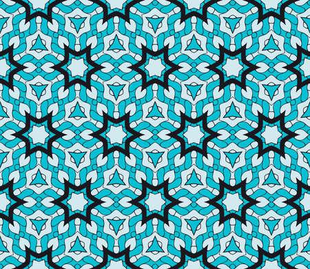 Ornamental fashion design. Modern seamless geometry floral pattern. Vector illustration. For interior design, printing, web and textile design. blue color