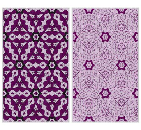 Ensemble de modèles sans soudure verticaux, texture géométrique florale abstraite. ornement pour la décoration intérieure, cartes de voeux, invitations d'anniversaire ou de mariage, impression sur papier. couleur violet Vecteurs