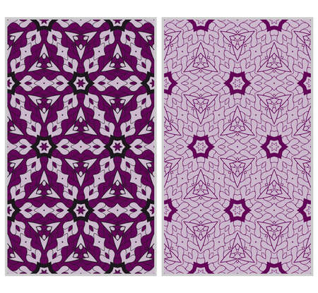 Vertical seamless patterns set, abstract floral geometric texture. ornament for interior design, greeting cards, birthday or wedding invitations, paper print. purple color Vetores