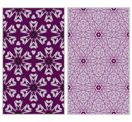 Vertical seamless patterns set, abstract floral geometric texture. ornament for interior design, greeting cards, birthday or wedding invitations, paper print. purple color Banque d'images - 97574840