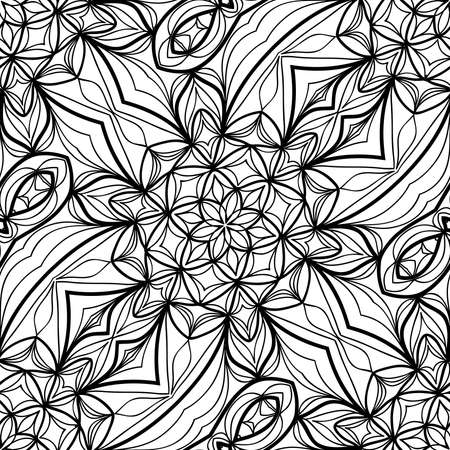 seamless pattern with henna mehndi hand drawn floral elements. vector illustration. for coloring book, creative background