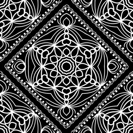 Close up lace seamless pattern in black and white illustration.