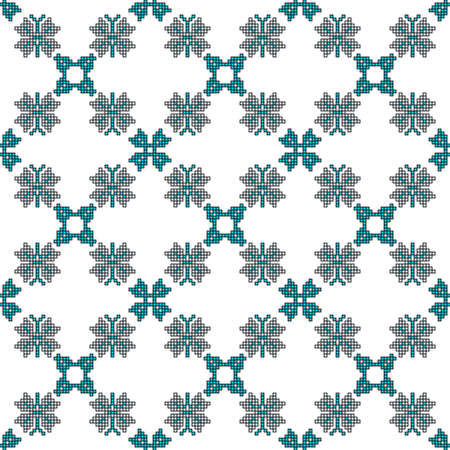 scheme for embroidery Cross stitch pattern for clothing. Mosaic seamless pattern. Ethnic ornament.