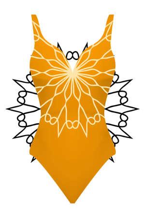 Swimsuit with mandala ornament. Illustration