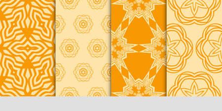 set of 4 orange color fashion geometric seamless pattern. vector illustration. design for wallpaper, fabric, interior